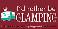 IGW Bumper Sticker - 'I'd rather be glamping. internationalglampingweekend.com'