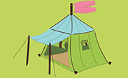 square center-pole tent w/ staked vestibule