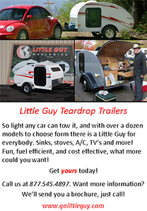 Little Guy Teardrop Trailers: Want more information? We'll send you a brochure. Just call! 877.545.4897, www.golittleguy.com